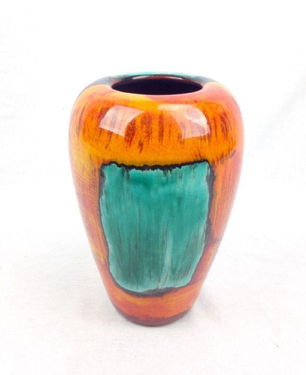 Poole Pottery Gemstone Vase / Multi Coloured / Blue / Orange / Red /  Large